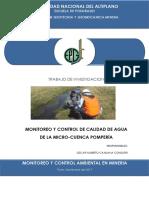 Monitoreo y Control de Calidad de Agua de La Miccrocuenca Pomperia