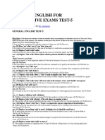 General English for Competitive Exams Test