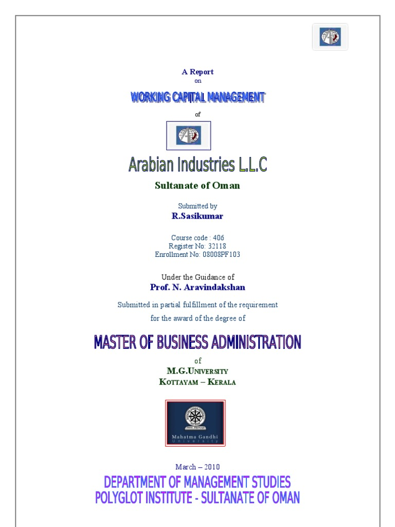 research thesis on working capital management Working capital management financial management project topics, finance base paper, accounting thesis list, dissertation, synopsis, abstract, report, source code, full pdf details for master of business administration mba, bba, phd diploma, mtech and msc college students.