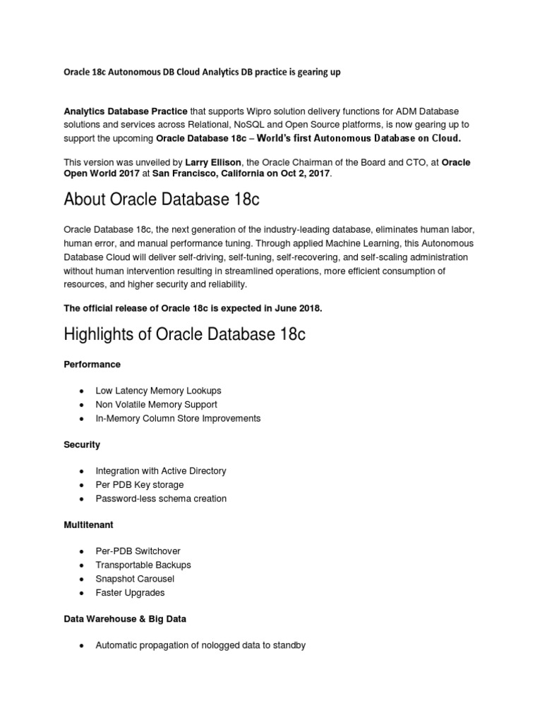 Oracle 18c Autonomous DB Cloud Analytics DB Practice is Gearing Up