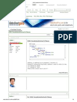 VHDL Hexadecimal Instead of Binary | Vhdl | Internet Forum
