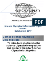 Science Olympiad Parent Night Presentation 2017