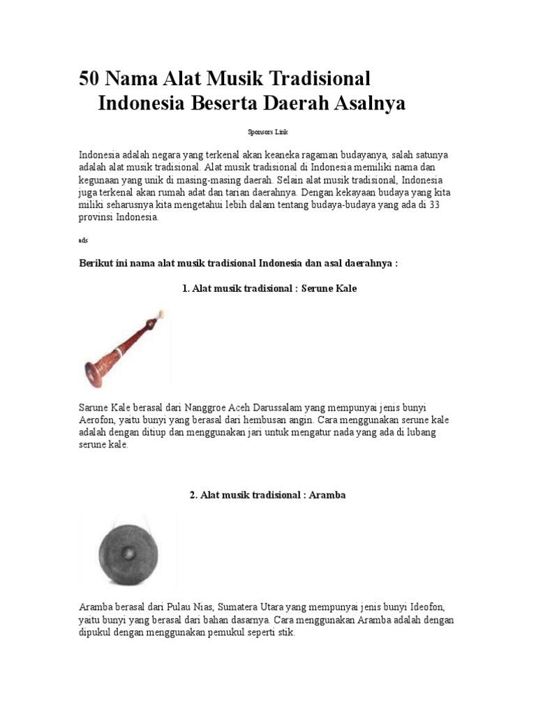 50 Nama Alat Musik Tradisional Indonesia Beserta Daerah Asalnya