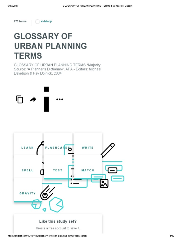 Glossary Of Urban Planning Terms Flashcards Quizlet Public