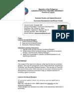 Learner Centered Curriculum Design