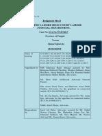 Lahore High Court Judgement in favor of PAT Pakistan Awami Tehreek 5th December 2017