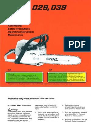039 Stihl Chainsaw Service Workshop Repair /& Parts List Diagram Manual 029