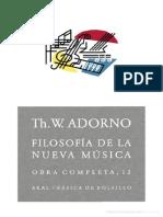Adorno, Theodor - Filosofía de La Nueva Música