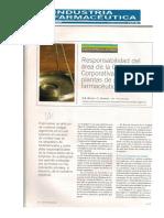 Responsabilidad Del Área de La Calidad Corporativa-InDUSTRIA FARMACEUTICA Año XXII Nº 137 Noviembre-Diciembre 2007