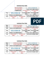 Individual Time Table