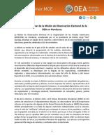 Informe Preliminar de la MOE-OEA sobre elecciones en Honduras 2017