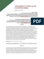 Gerencia Del Riesgo en Épocas de Incertidumbre