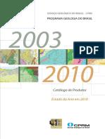 Programa Geologia Do Brasil Catalogo Produtos 2003 10
