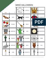 Domino Halloween Texto Pictograma Fichas Pequenas