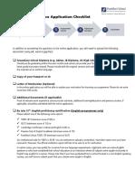 BSc Application Checklist