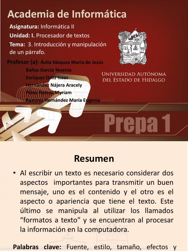 Informatica II - Unidad 1. Tema - Parrafo Word (1)