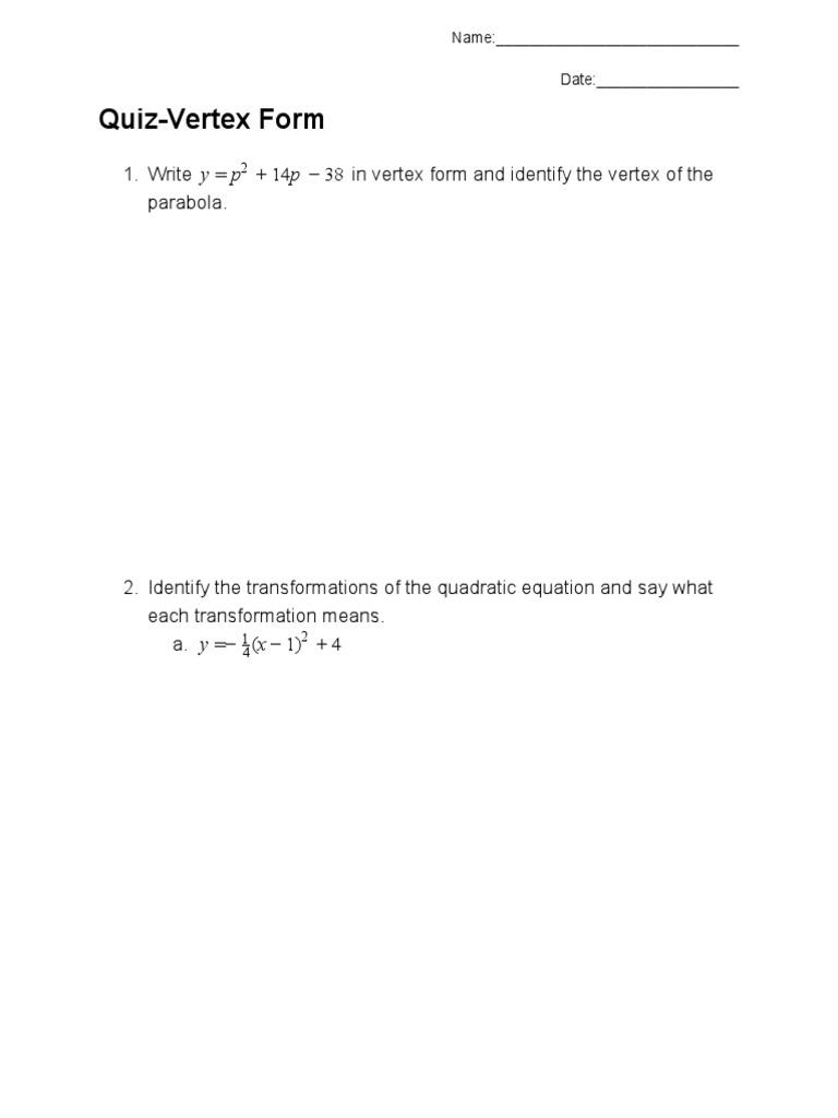 Quiz vertex form falaconquin