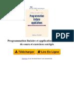 G48D Programmation Linaire Et Applications Elments de Cours Et Exercices Corrigs Par Khaled Mellouli Abdelkader El Kamel Pierre Borne 2710808447