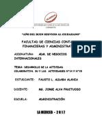 ADM. DE NEGOCIOS INTERNACIONALES - DESARROLLO DE LA ACTIVIDAD COLABORATIVA. llU Y LAS  ACTIVIDADES N°14 Y N°15
