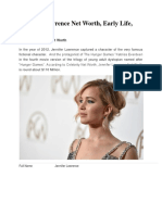 Jennifer Lawrence Net Worth, Early Life, Education