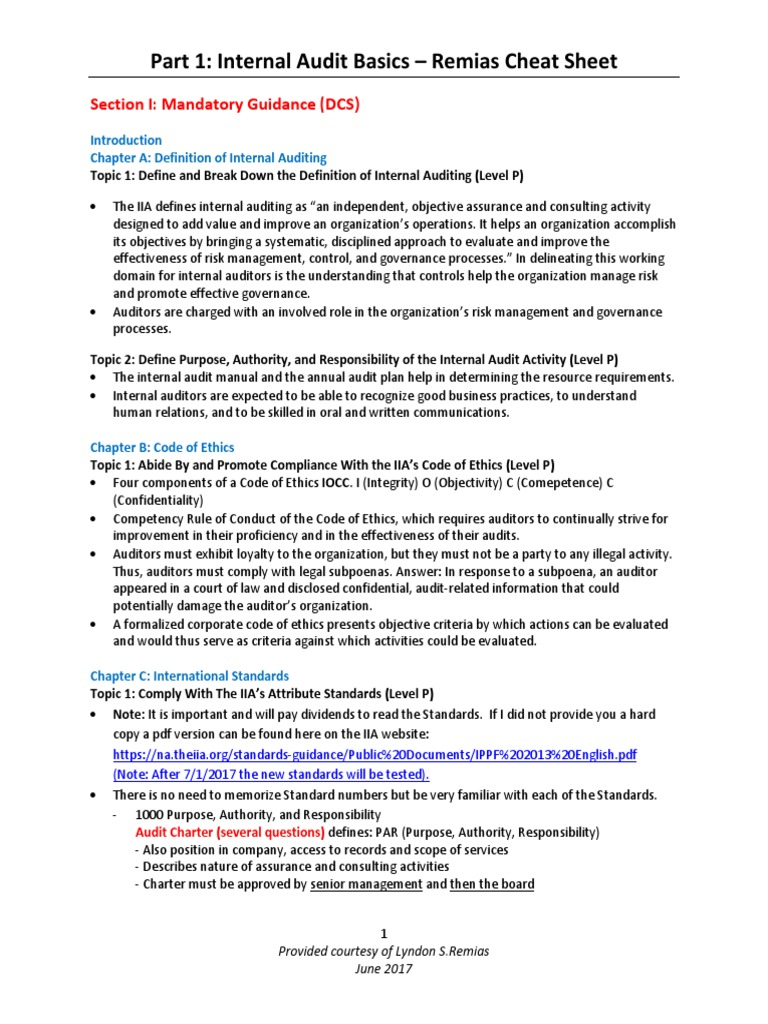 CIA Part 1 Cheat Sheet Updated June 2017 - Copy - Copy | Internal
