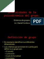 Generalidades de la psicodinámica del grupo
