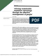 Sustainable Advantage Through People