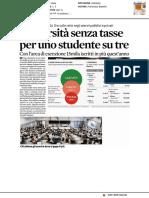Università senza tasse per uno studente su tre - Il Sole24ore del 4 dicembre 2017