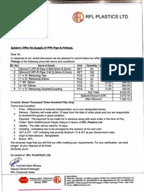 Letter | Discounts And Allowances | Services (Economics)