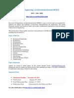 353378819 Bioscience Engineering an International Journal BIOEJ