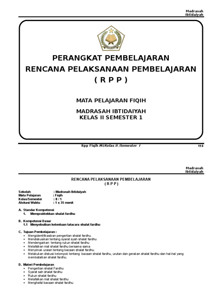 Rpp Fiqih Kelas 2 Smt 1