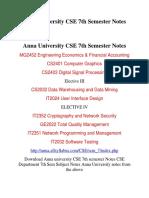 Anna University CSE 7th Semester Notes