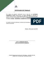 Certificado de Trabajo (Imecon)