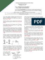 FisIII_APS1_Fundamentos Da Eletrostática, Força, Campo e Potencial Elétrico