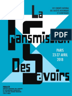 (Paris 2018) Transmission Des Savoirs – Appel