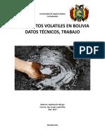 Yacimientos Volatiles en Bolivia, Datos Tecnicos