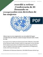 Ecuador procedió a retirar reservas a Conferencia de El Cairo, reafirmando su compromiso con derechos de las mujeres