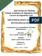 Cuestionario de Metodologia de La Investigacion - Primer Hemisemestre