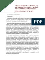 Decreto Legislativo 1272 _ Modifica Ley 27444 y Deroga Ley Del Silencio Administrativo