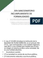 Regimen Sancionatorio Incumplimiento de Formalidades