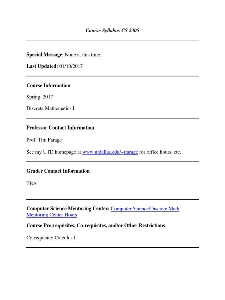 Ebook 5168 Discrete Math Rosen Student Solutions Manual Syllabus