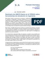Prevision Informativa Jornadas ANSYS en CESGA 19ABRIL