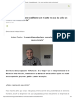 """Arturo Duclos_ """"Lamentablemente El Arte Nunca Ha Sido Un Frente Revolucionario"""""""