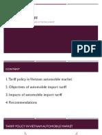 Impacts of import tariff on Vietnam automobile market