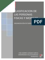 Clasificacion de Personas Físicas y Morales