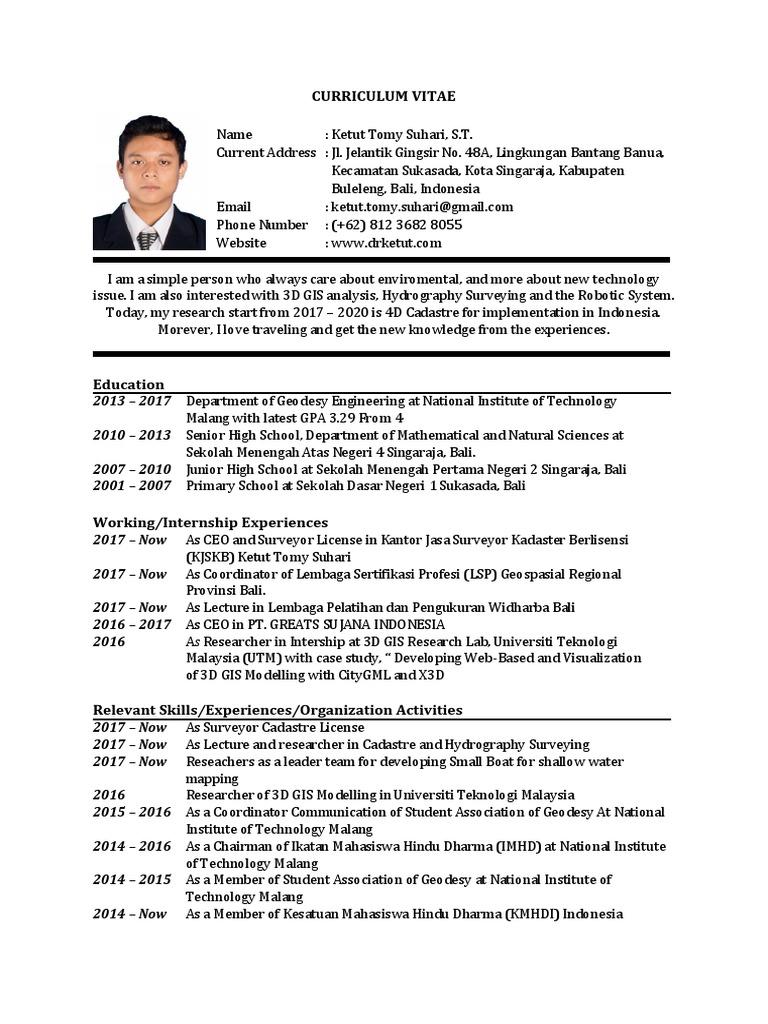 Curriculum Vitae Pdf Indonesia Geomatics