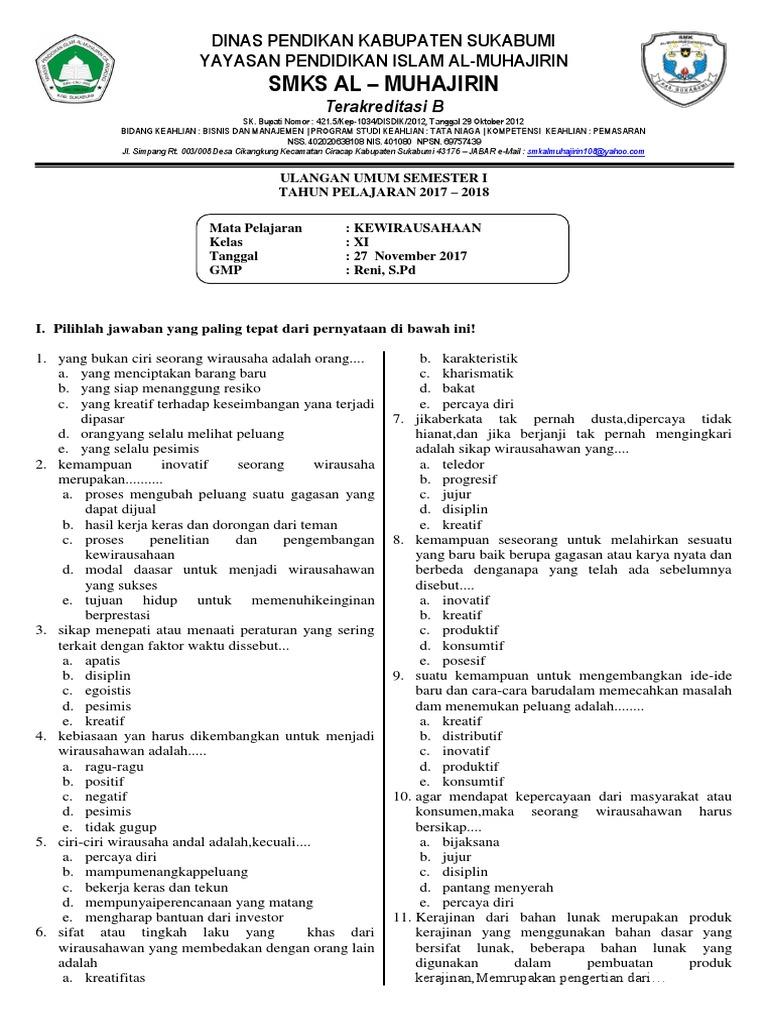 Soal Prakarya Kelas 11 Semester 2 Dan Kunci Jawaban Guru Galeri