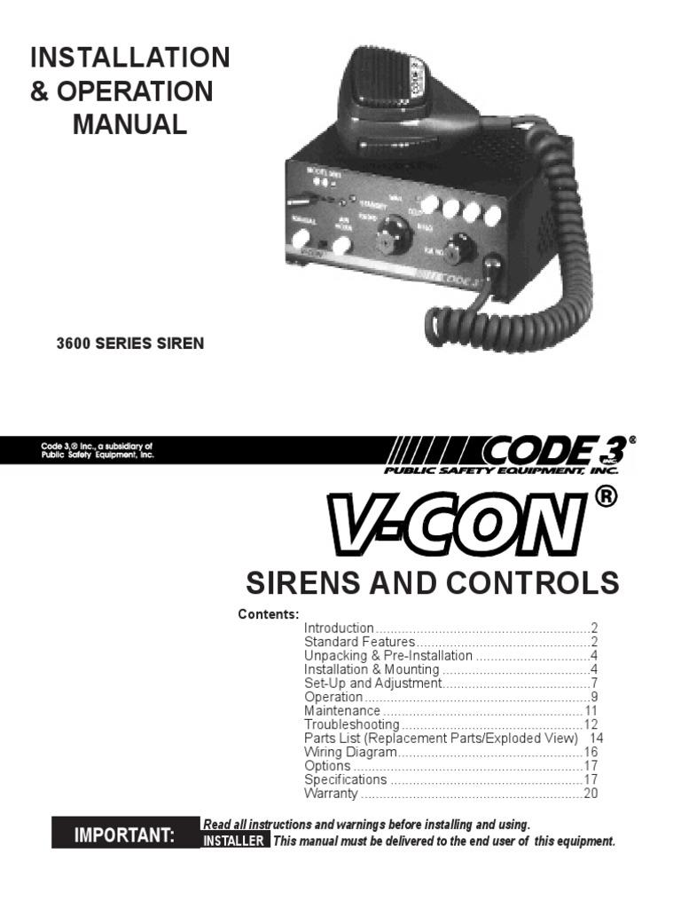code 3 scorpion switch amplifier rh es scribd com Whelen Lightbar Wiring-Diagram 3 Wire Switch Wiring Diagram