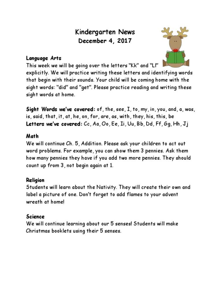 Kindergarten News Dec 7