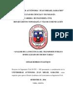 Analisis de La Influencia Del Transporte Publico Sindicalizado de Micros Tarija